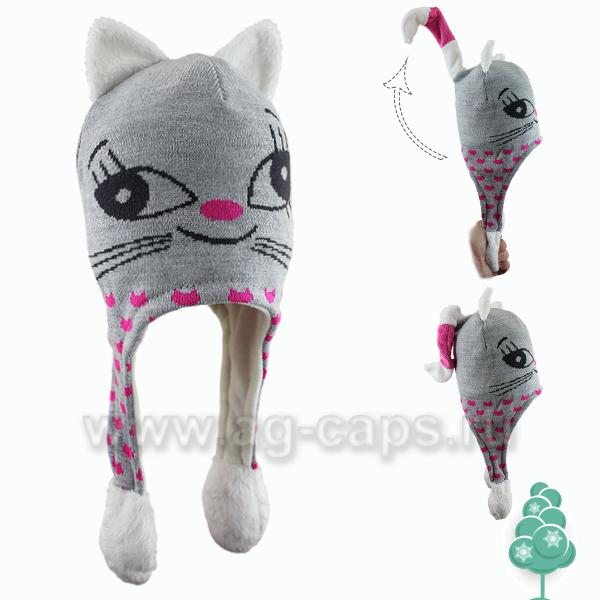 Шапка детская SWEET CAP J15-CAT (на флисе) - Фото
