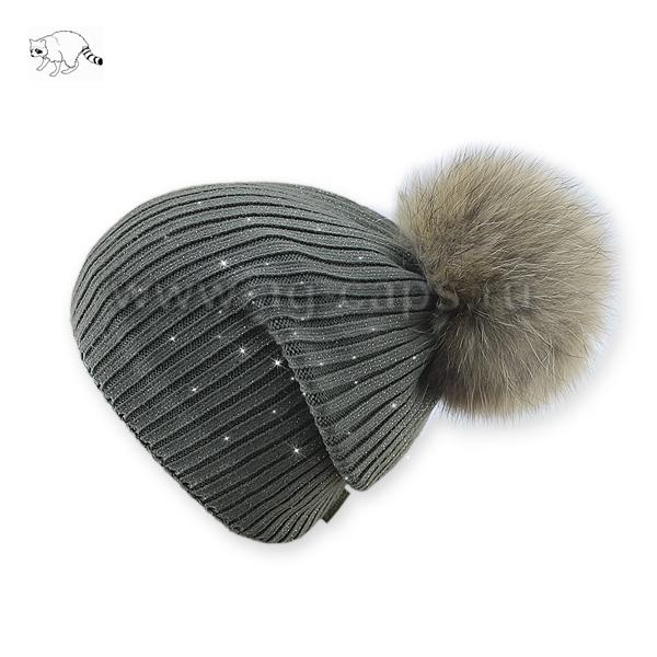 Шапка женская SELFIE CZD 2 REZINKA ROSSIP 418123 PAL-Y (на флисе)+(натуральный помпон Енот) - Фото