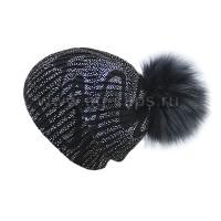 Шапка женская SELFIE CZD 3 REZINKA BLACK VOLNA SEREBRO 418128 PAL-Y (на флисе)+(иск. помпон)