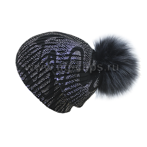 Шапка женская SELFIE CZD 3 REZINKA BLACK VOLNA SEREBRO 418128 PAL-Y (на флисе)+(иск. помпон) - Фото