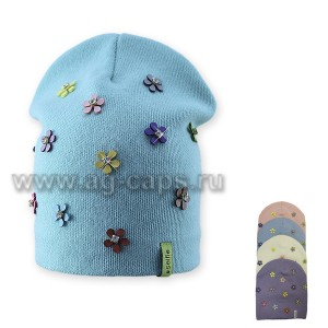 Шапка детская SELFIE CZd LPT FLOWER 219122 BAW2 (двойная) - Фото