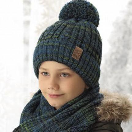 Комплект детский AJS 419 38-601 (хлопковый флисе Футтер)+(снуд восьмерка одинарный) - Фото