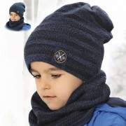 Комплект детский двусторонний AJS 419 38-542 (двойная вязка)+(снуд двойной) - Фото