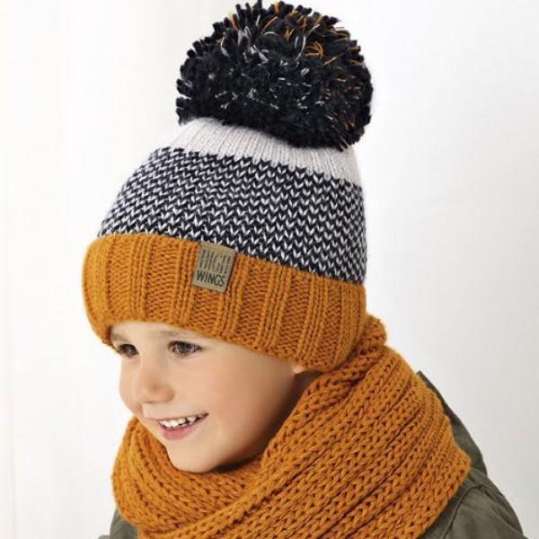 Комплект детский AJS 419 38-515 (хлопковый флисе Футтер)+(снуд восьмерка одинарный) - Фото