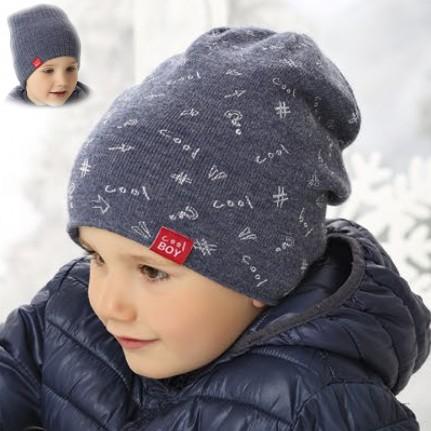 Шапка детская двусторонняя AJS 419 38-543 (двойная вязка) - Фото