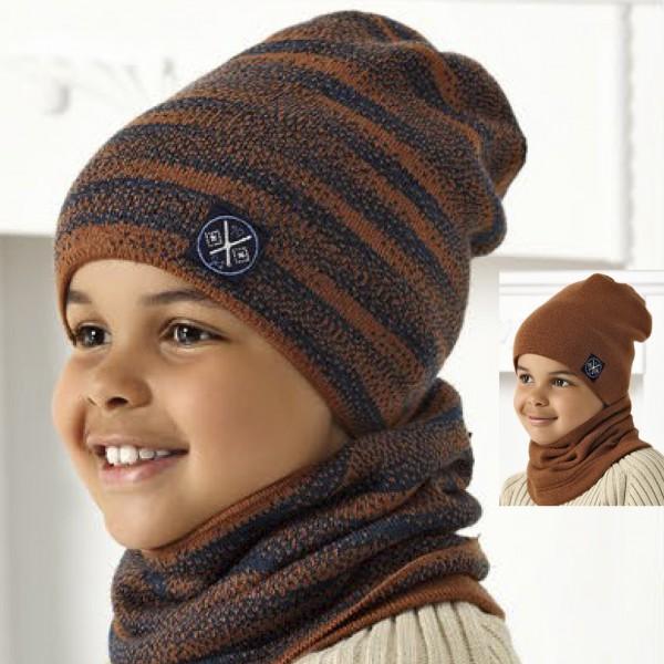 Комплект детский двусторонний AJS 420 40-528 (двойная вязка)+(снуд двойной) - Фото