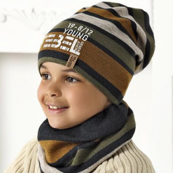 Комплект детский AJS 420 40-575 (подкладка хлопковый флис Футтер)+(снуд одинарный) - Фото