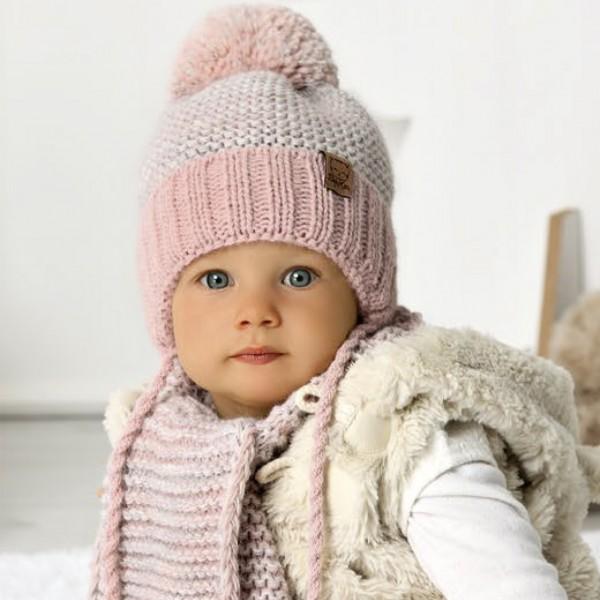 Комплект детский AJS 420 40-407 (подкладка хлопковый флисе Футтер)+(шарф одинарный) - Фото