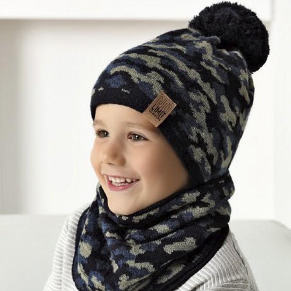 Комплект детский AJS 420 40-511R (подкладка хлопковый флисе Футтер)+(снуд одинарный) - Фото