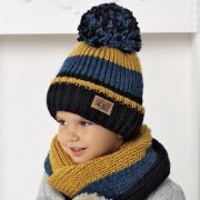 Комплект детский AJS 420 40-465 (подкладка хлопковый флисе Футтер)+(снуд одинарный) - Фото