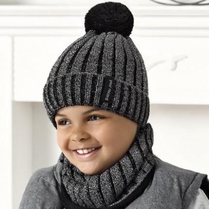 Комплект детский AJS 420 40-574 (подкладка хлопковый флисе Футтер)+(снуд одинарный) - Фото