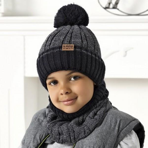 Комплект детский AJS 420 40-570 (подкладка хлопковый флисе Футтер)+(снуд одинарный) - Фото