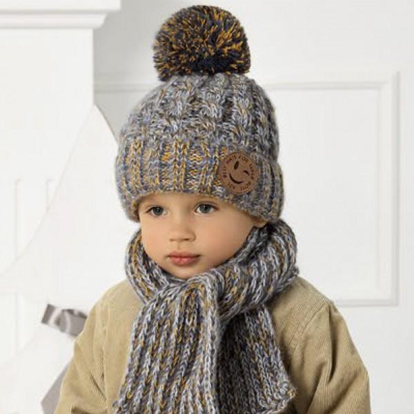 Комплект детский AJS 420 40-461 (подкладка флис)+(шарф одинарный) - Фото