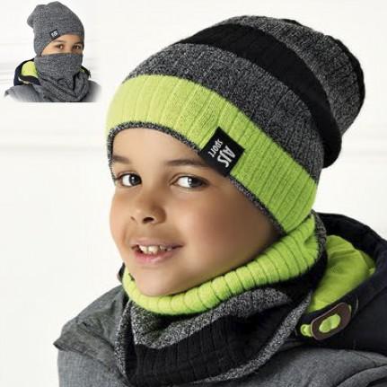 Комплект детский двусторонний AJS 420 40-563 (двойная вязка)+(снуд двойной) - Фото