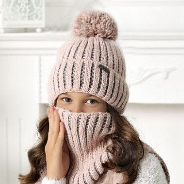 Комплект детский AJS 420 40-532 (подкладка хлопковый флисе Футтер)+(шарф одинарный) - Фото