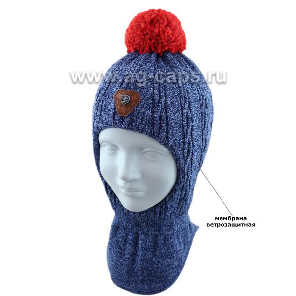 Шапка-шлем детская AGBO 421 4463/50-52 BARI (на хлопковой подкладке+утеп.SUPERWARM) - Фото
